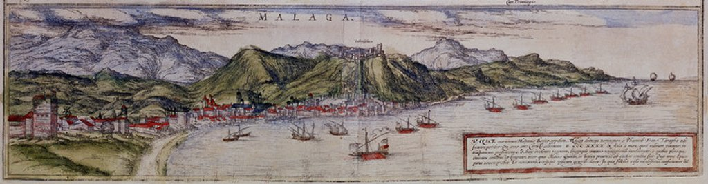 Stock Photo: 4409-4046 CIVITATES ORBIS TERRARUM - MALAGA - GRABADO - SIGLO XVI - JUNTO CON CADIZ Y SEVILLA EN EL NUMERO 3038. Author: BRAUN GEORG 1541-1622 / HOGENBERG FRANS. Location: BIBLIOTECA NACIONAL-COLECCION, MADRID, SPAIN.