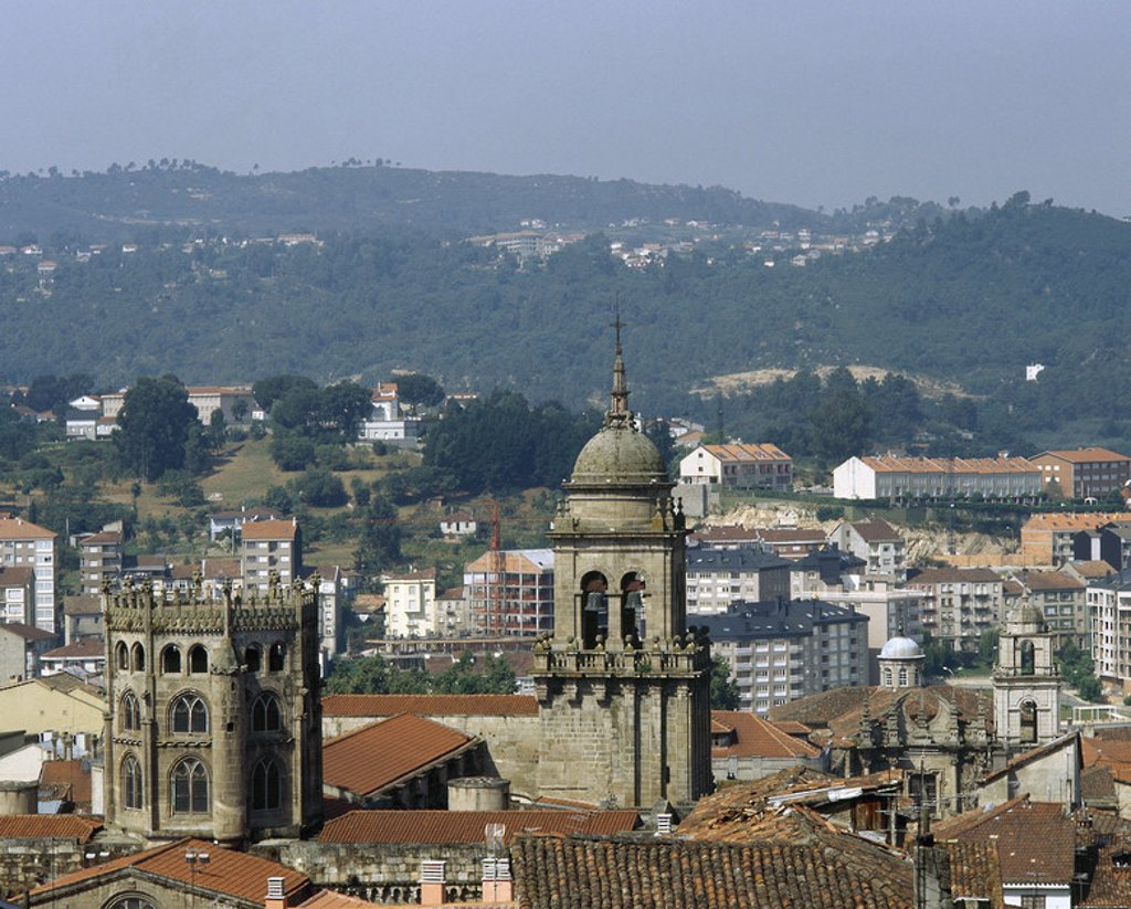 Spain. Galicia. Orense. Dome (15th century) and campanile of the cathedral from the St. Francis convent. : Stock Photo