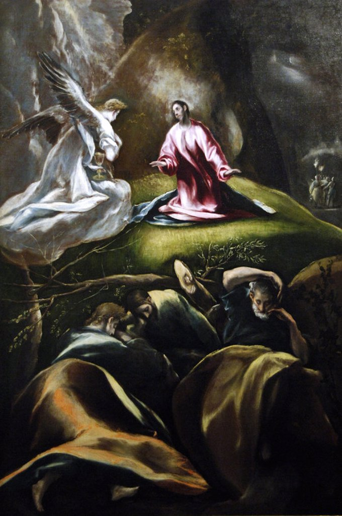 RENAISSANCE ART. SPAIN. GRECO, DomE`nikos TheotokU^pulos, called El (Candia ,1541-Toledo, 1614). Cretan painter, representative of the last phase of Mannerism. Agony in the garden, h. 1610-1612. Museum of Fine Arts. Budapest. Hungary. : Stock Photo