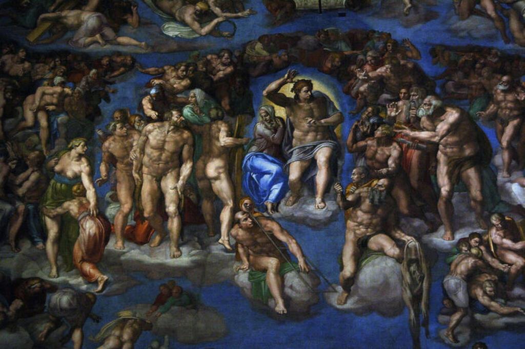 """Stock Photo: 4409-40554 ARTE RENACIMIENTO. ITALIA. S. XVI. MIGUEL ANGEL (Michelangelo Buonarroti) (1475-1564). Pintor, escultor y arquitecto italiano. FRESCO DEL """"JUICIO FINAL"""" (1536-1541). CAPILLA SIXTINA. Museos Vaticanos. Ciudad del Vaticano."""