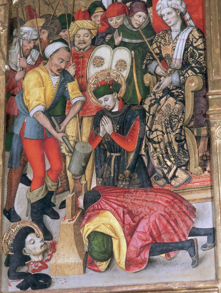 Gothic art. 15th Century. Jaume Huguet (c. 1415-1492). Catalan painter. Altarpiece of the Saints Abdon and Senen. The martyrdom of the saints (1460-1461). Church of Saint Mary of Terrassa. Catalonia. Spain. : Stock Photo