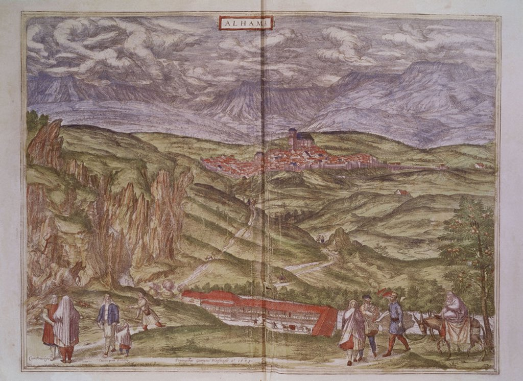 Stock Photo: 4409-4067 View of Alhama, Granada, from 'Civitates Orbis Terrarrum' - 1576 - coloured engraving. Author: BRAUN GEORG 1541-1622 / HOGENBERG FRANS. Location: BIBLIOTECA NACIONAL-COLECCION, MADRID, SPAIN. Also known as: CIVITATES ORBIS TERRARUM-ALHAMA (GRANADA).