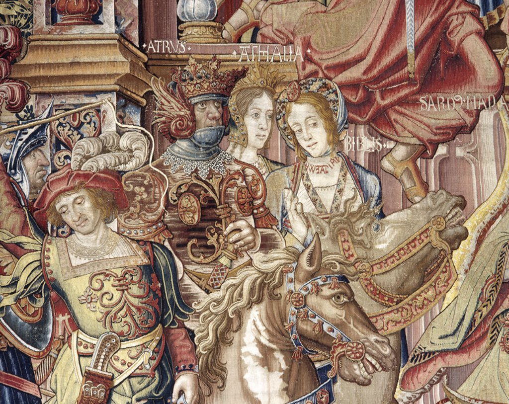Tapestry Series Honors and Virtues. Detail. Made in Brussels in mid-sixteenth century. Wool, silk and silver. Tapestry Museum. Royal Palace of La Granja de San Ildefonso. Castile and Leon. Spain. National Heritage. : Stock Photo