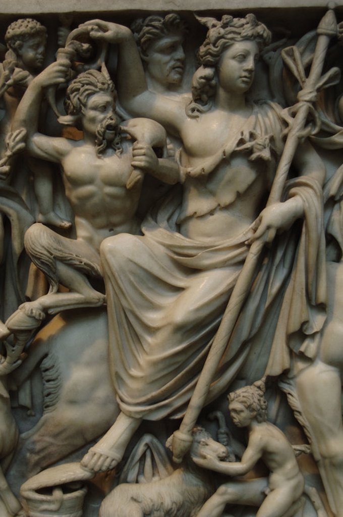 Roman Art. Marble sarcophagus with the Triumph of Dionysos and the Seasons. Dionysos and a satyr. Ca. 260-270. Late Imperial, Gallienic. Probably comes from Rome. Metropolitan Museum of Art. New York. United States. : Stock Photo