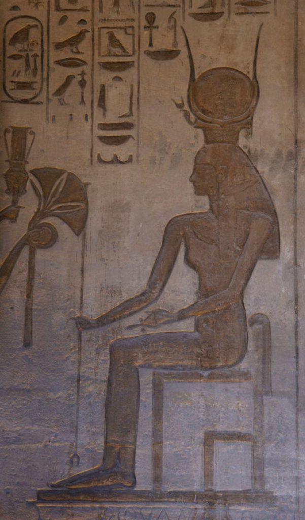 Egyptian art. Small Temple or Temple of Hathor. 19th dynasty. New Empire. Relief depicting the goddess Hathor. Abu Simbel. Egypt. : Stock Photo