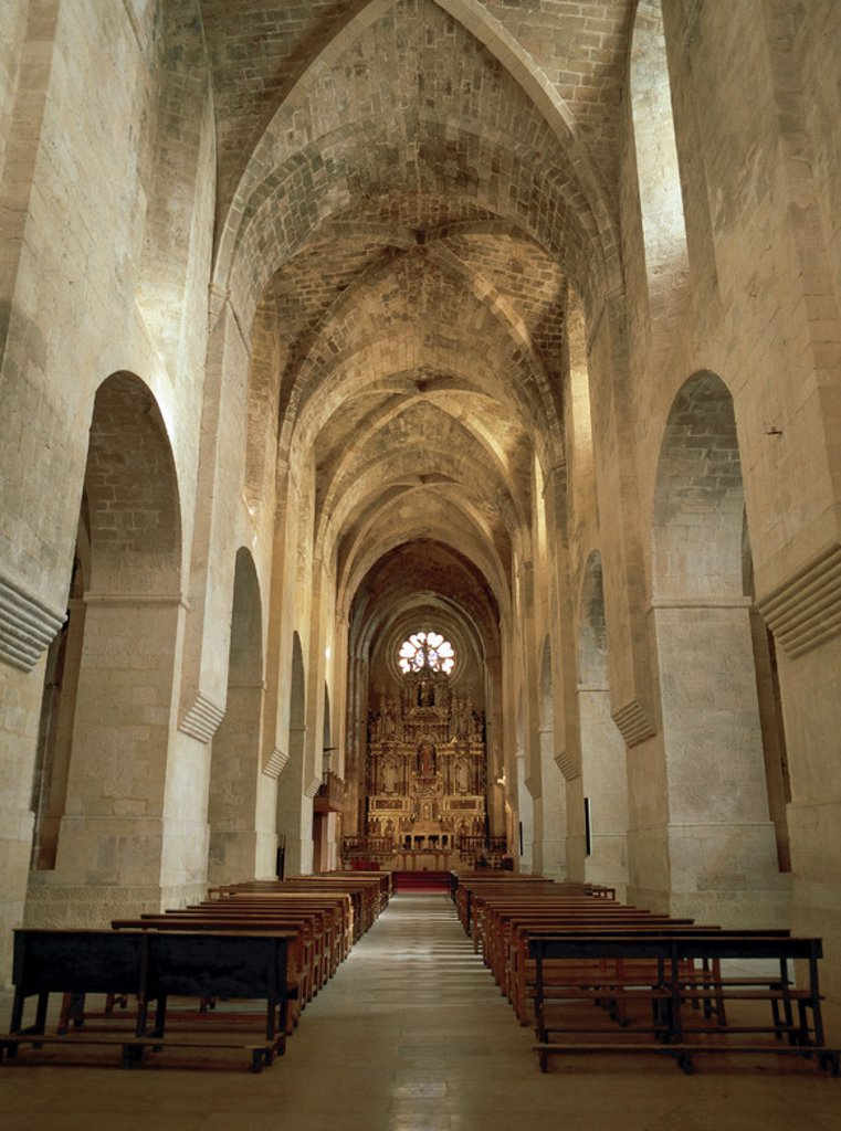 Stock Photo: 4409-40898 Romanesque art. Monastery of Santes Creus. Cistercian Abbey. Interior of the church built between 1174 and 1225 and covered with vault. Aiguamurcia. Catalonia. Spain.