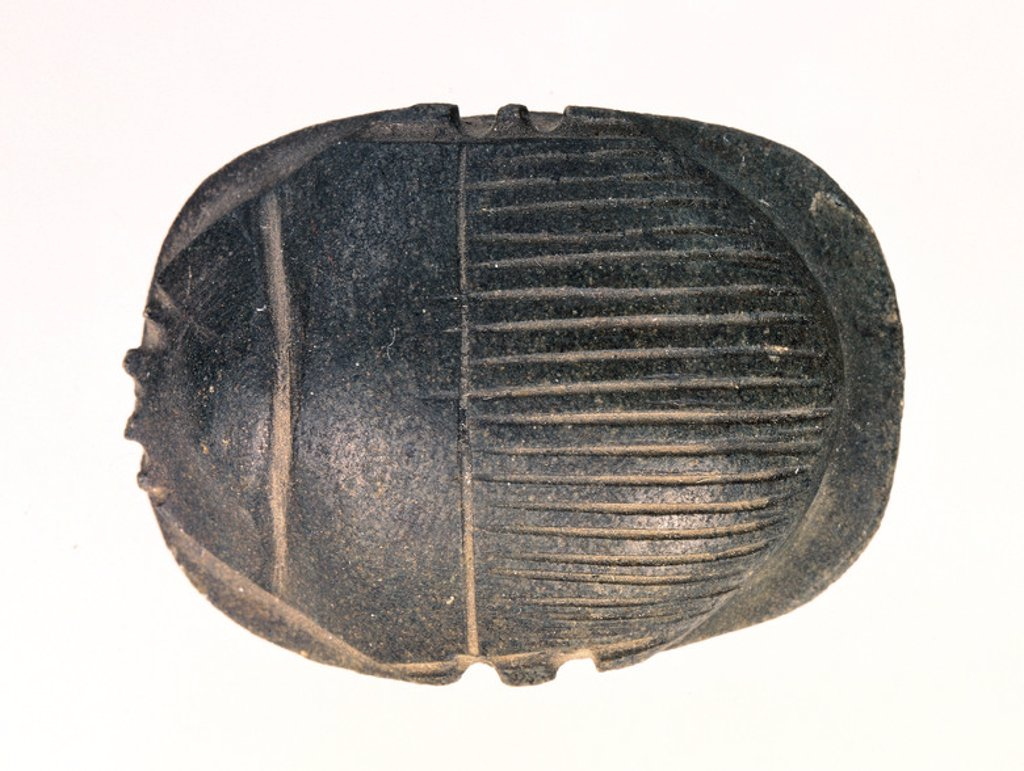 Stock Photo: 4409-40905 Egyptian art. Beetle-shaped amulet symbol of Khepri, god of sunrise.
