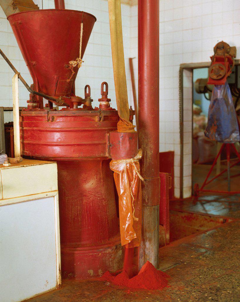 Stock Photo: 4409-40951 Spain. Molina de Segura. Paprika's factory. Interior. Mills.