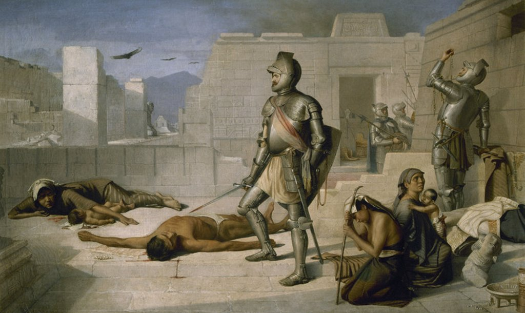 "Stock Photo: 4409-40977 ""EPISODIOS DE LA CONQUISTA"" (1877). Obra de Félix PARRA (1845-1919). Pintor mexicano. Oleo sobre lienzo, 68,3x109,5 cm. Museo Nacional de Arte. Ciudad de México (INBA) ."