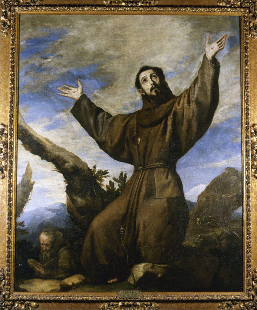 """Stock Photo: 4409-41151 ARTE BARROCO. ESPAÑA. RIBERA, José de (Játiva,1591-Nápoles,1652). Pintor español llamado en Italia """"IL SPAGNOLETTO"""". """"SAN FRANCISCO DE ASIS RECIBIENDO LOS ESTIGMAS"""". Monasterio de San Lorenzo de El Escorial. Comunidad de Madrid. PATRIMONIO NACIONAL."""