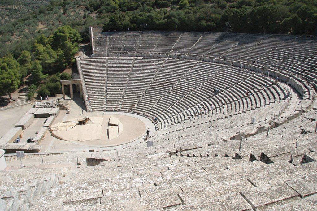 Stock Photo: 4409-41189 Greek Art. Epidaurus Theater by Polykleitos the Younger. Epidaurus. Peloponnese. Greece. Europe.