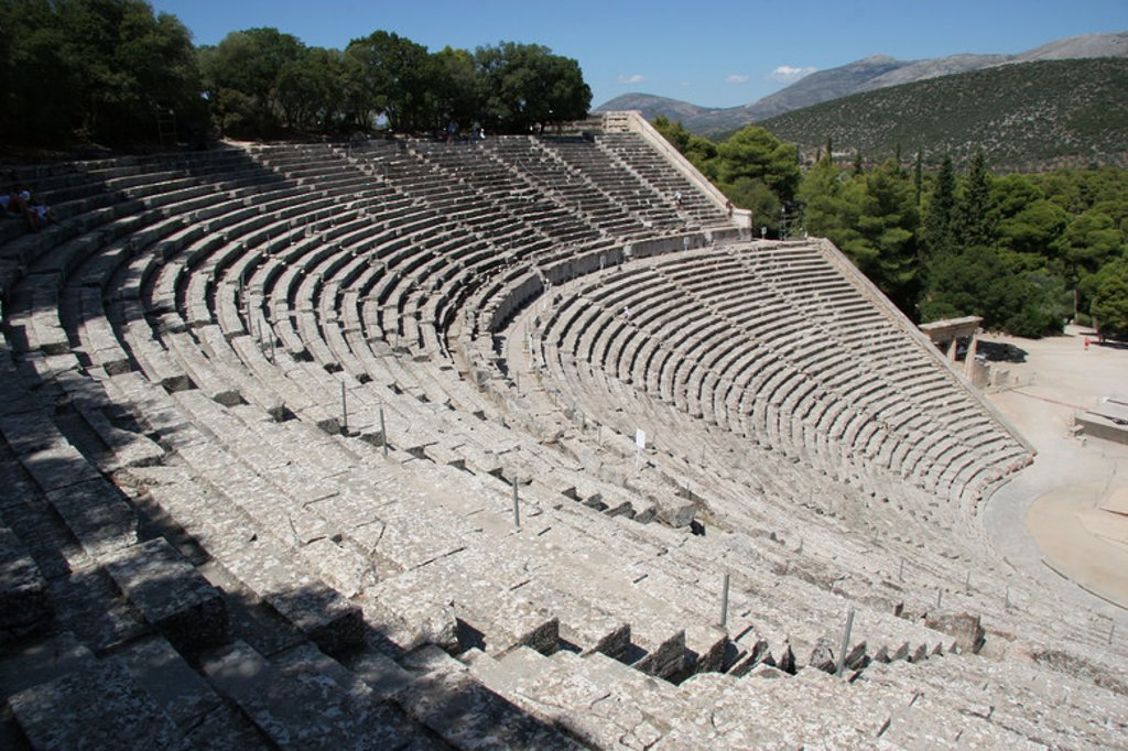 Greek Art. Epidaurus Theater by Polykleitos the Younger. Epidaurus. Peloponnese. Greece. Europe. : Stock Photo