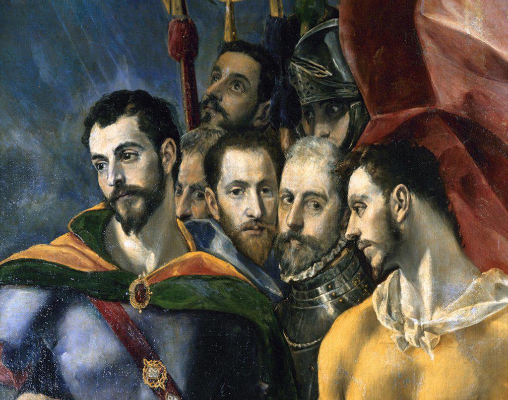 """ARTE RENACIMIENTO. ESPAÑA. GRECO, Doménikos Theotokópoulos, llamado EL (Candía,1541-Toledo,1614). Pintor cretense. """"EL MARTIRIO DE SAN MAURICIO Y LA LEGION TEBANA"""". Detalle. Cuadro encargado por Felipe II para un altar de la Basílica (SALA DE SAN MAURICIO). MONASTERIO DE SAN LORENZO DE EL ESCORIAL. Comunidad de Madrid. : Stock Photo"""