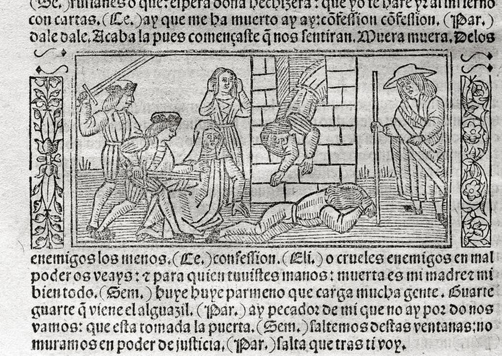 """LITERATURA CASTELLANA. S. XV. """"LA CELESTINA"""" o """"TRAGICOMEDIA DE CALISTO Y MELIBEA"""" (1499), obra escrita por Fernando DE ROJAS (Puebla de Montalbán, h. 1465-Talavera de la Reina, 1541), escritor español de familia judía convertido al cristianismo. Grabado con ESCENA DE LA OBRA de la edición impresa en Burgos en 1531. Biblioteca de Catalunya. Barcelona. : Stock Photo"""