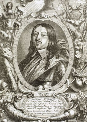 Charles X Gustav (1622 -1660). King of Sweden from 1654 until his death. Engraving. : Stock Photo