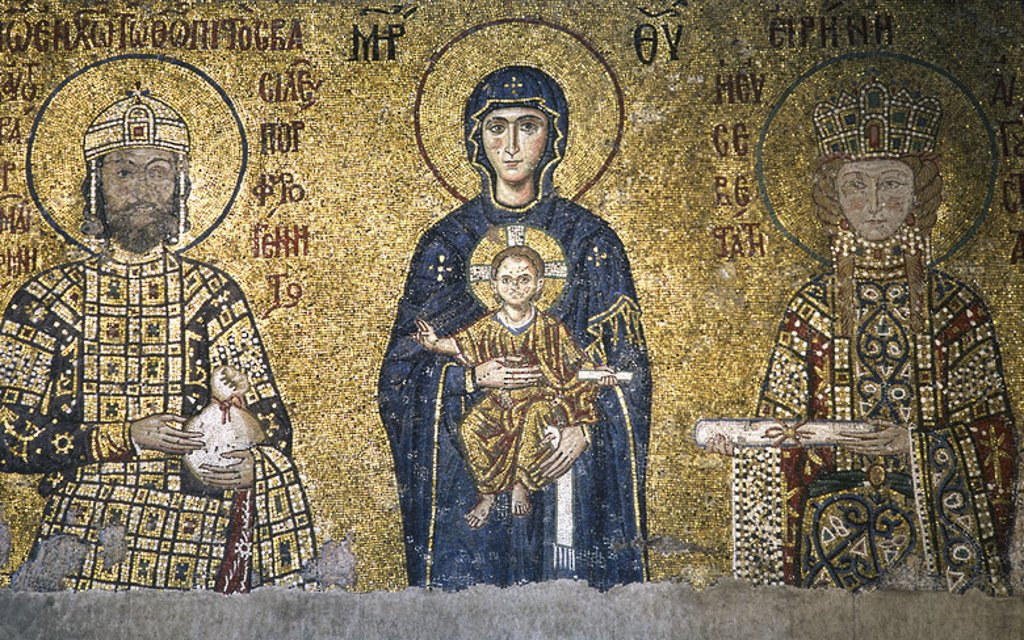 John II Comnenos (1087-1143) and Empress Irene (1088-1134). Byzantine emperors. In the centre, the Virgin Mary and Infant Jesus. Mosaic of the South Gallery. Hagia Sophia. Istanbul. Turkey. : Stock Photo