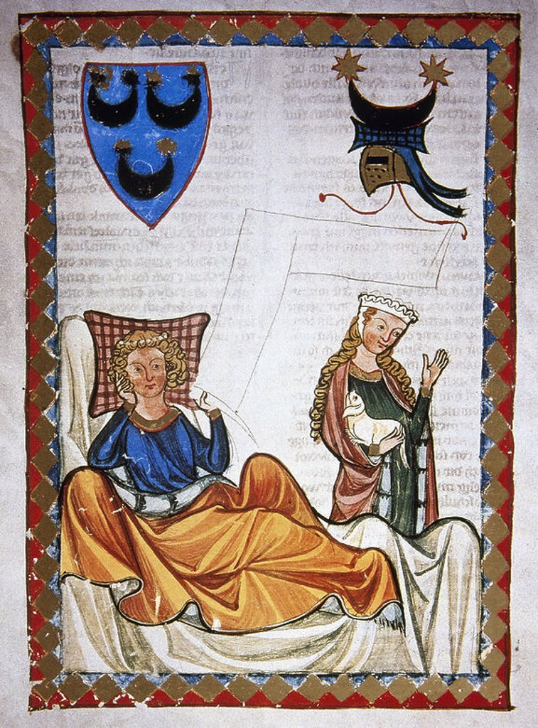 Stock Photo: 4409-41489 Heinrich Von Morungen (c.1150-1222). German poet. Lovesick poet. Codex Manesse (ca.1300) by Rudiger Manesse and his son Johannes. Miniature. Folio 76v. University of  Heidelberg. Library. Germany.
