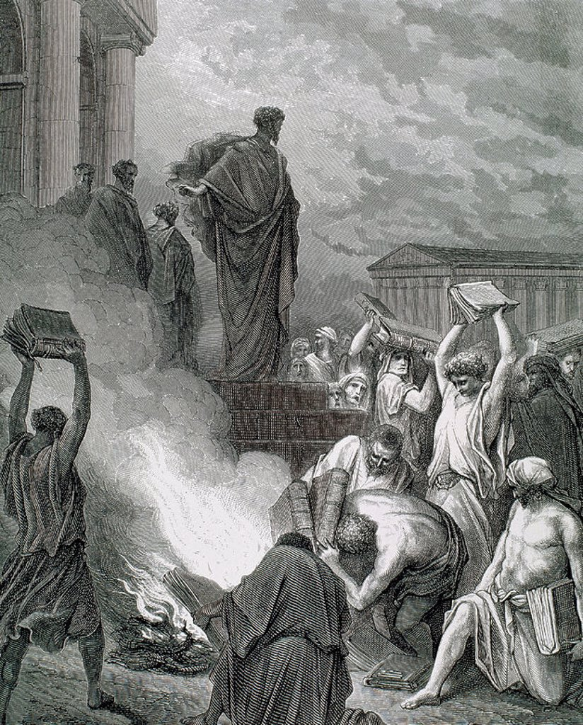 "PAUL, Saint (Saul) (Tarsus, Cilicia, c.10-Rome?, c. 67). ""St. Paul at Ephesus. (Acts of the Apostles, Chapter XIX, verses 16 to 20). G. DORE drawing and engraving by J. Ettling. : Stock Photo"