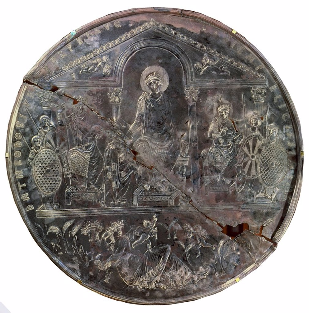 Stock Photo: 4409-4158 Disk representing Theodose the First handing over a roll to his sons Arcadius and Honorius.. 4th century. Silver object from the late roman time. History Academy of Madrid. Location: ACADEMIA DE LA HISTORIA-COLECCION, MADRID.