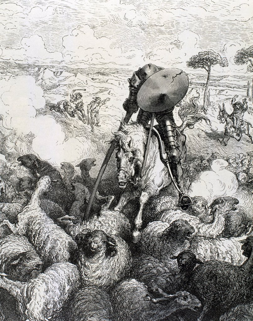 "Stock Photo: 4409-41739 Spanish literature. ""The Ingenious Hidalgo Don Quixote of La Mancha"", written by Miguel de Cervantes Saavedra (1547-1616). Don Quixote attacking the flock of sheep and goats. Gustave Dore engraving."