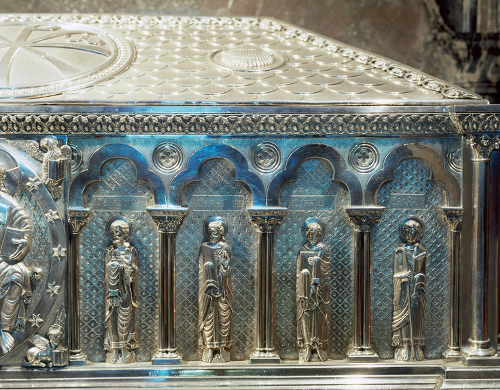 Stock Photo: 4409-41753 Spain. Galicia. Santiago de Compostela. Cathedral. The silver coffer holding the remains of St. James. Crypt. Built in 19th century. Detail evangelists.