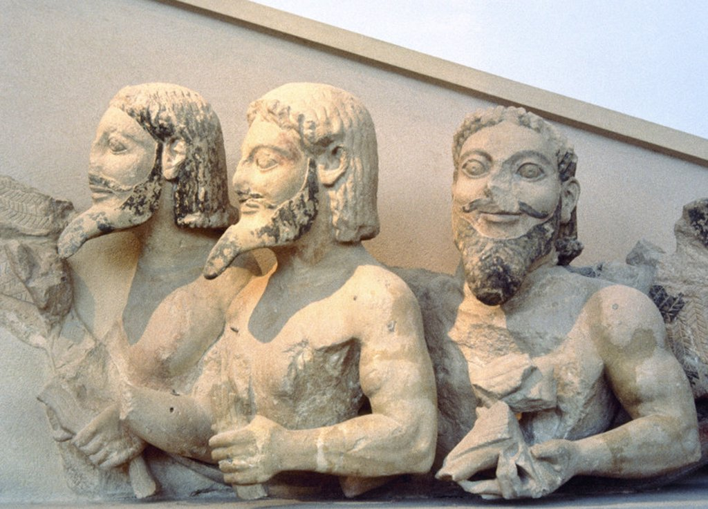 Triple-bodied Monster, know as Bluebeard. Pediment of the Hekatompedon of the Acropolis. 6th century BC. Acropolis Museum. Athens. Greece. : Stock Photo