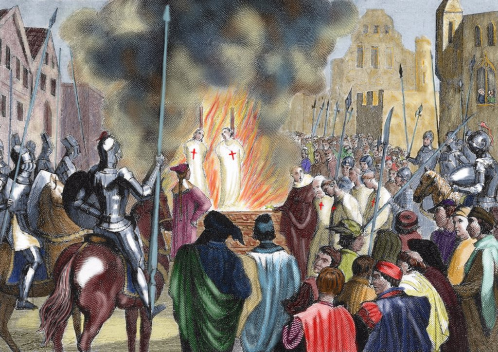 Burning Templar in the 14th century. Colored engraving of 1851. : Stock Photo