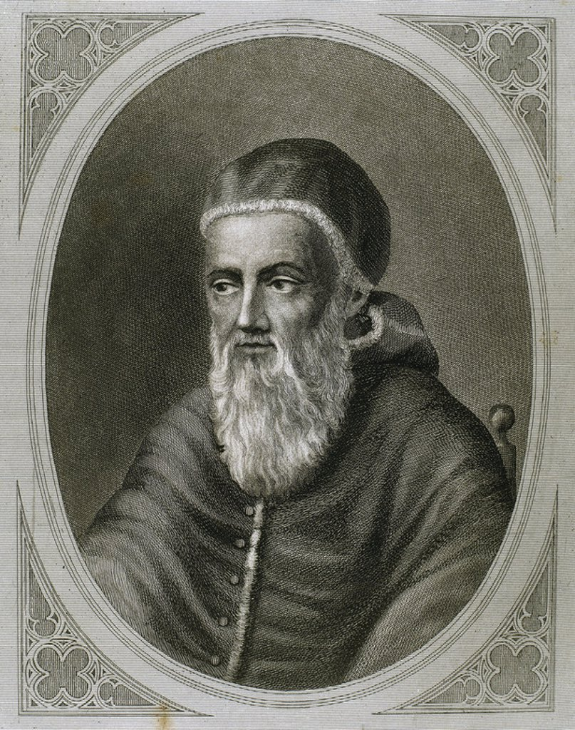 "Stock Photo: 4409-41856 Julius II (1443–1513), nicknamed ""The Fearsome Pope"" and ""The Warrior Pope"", born Giuliano della Rovere. Pope from 1503 to 1513. Engraving."