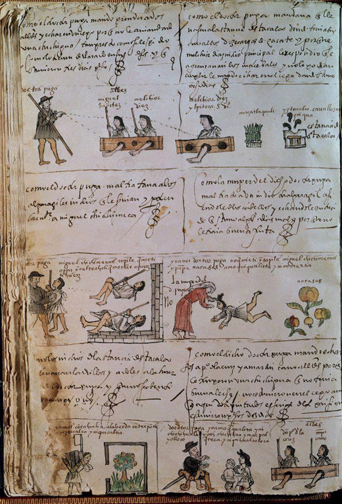 Stock Photo: 4409-4191 CODICE OSUNA - HISTORIA DEL DOCTOR PUGA - ILUSTRACIONES SOBRE LOS ABUSOS COMETIDOS CON LOS INDIOS - 1570. Location: BIBLIOTECA NACIONAL-COLECCION, MADRID, SPAIN.