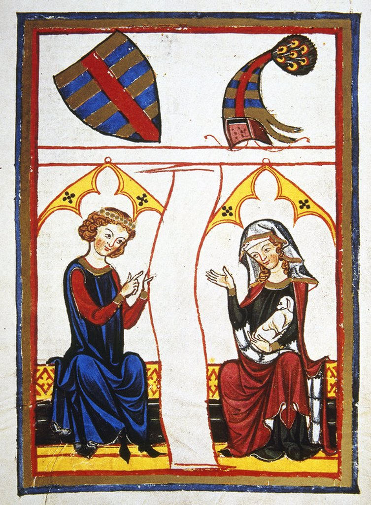 The German poet Reinman Der Alte (d. 1210) read a line from a poem to his beloved. Codex Manesse (ca.1300) by Rudiger Manesse and his son Johannes. Miniature. Folio 98r. University of  Heidelberg. Library. Germany. : Stock Photo
