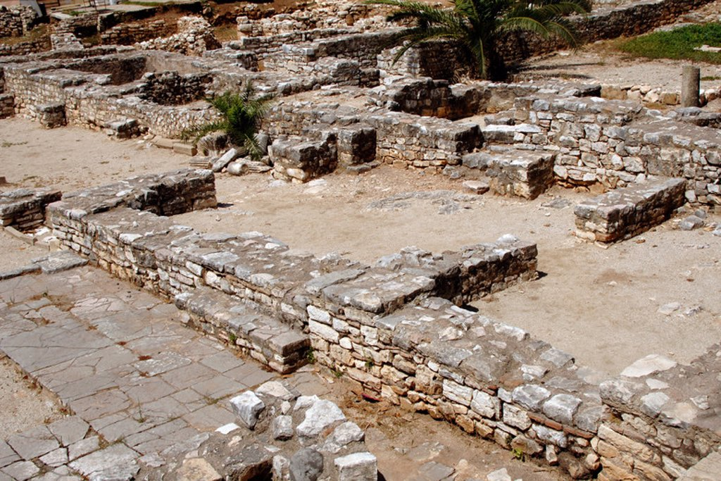 Stock Photo: 4409-42077 HEBREW ART. REPUBLIC OF ALBANIA. Archaeological remains of the ancient synagogue dating from the V-VI. Saranda.