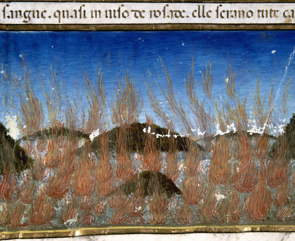 Stock Photo: 4409-42122 The end of the world and the Last Judgement. The sea will burn. Codex of Predis (1476). Royal Library. Turin. Italy.