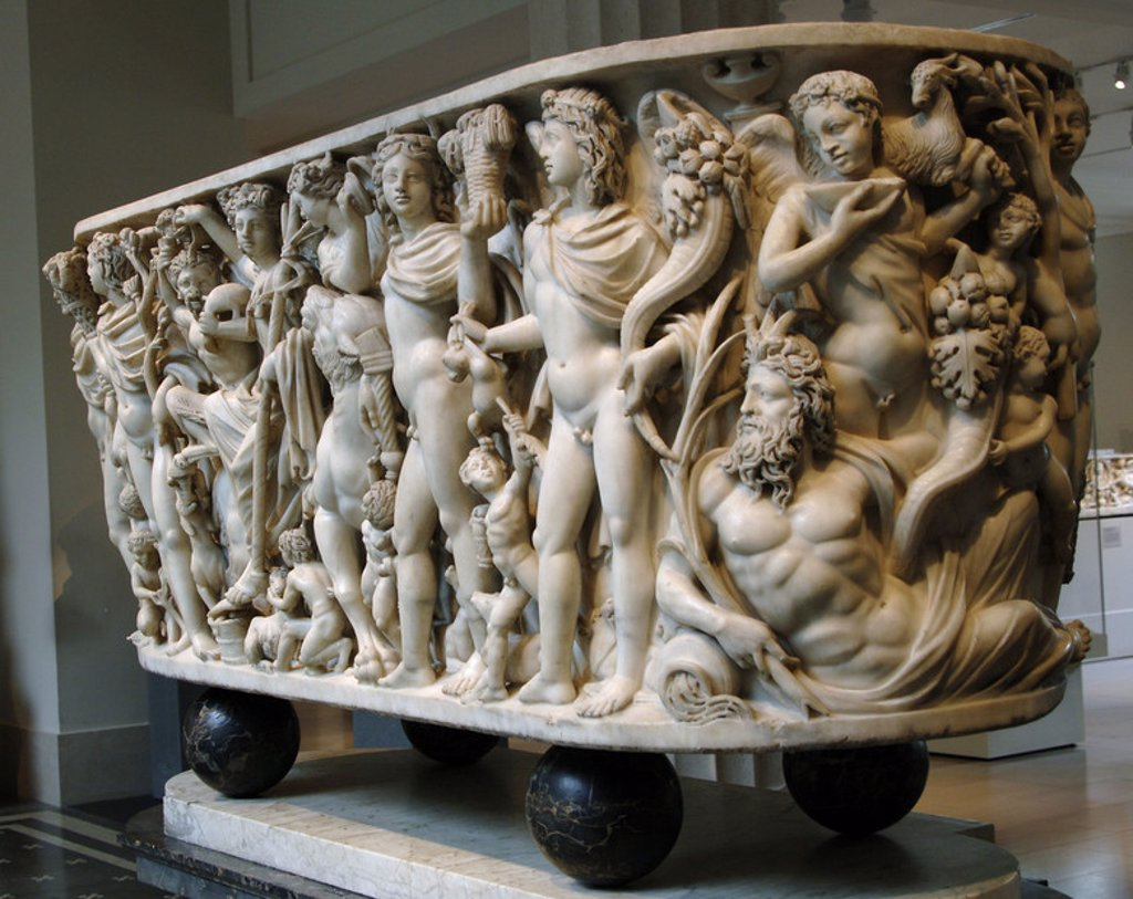 Roman Art. Marble sarcophagus with the Triumph of Dionysos and the Seasons. Ca. 260-270. Late Imperial, Gallienic. Probably comes from Rome. Metropolitan Museum of Art. New York. United States. : Stock Photo
