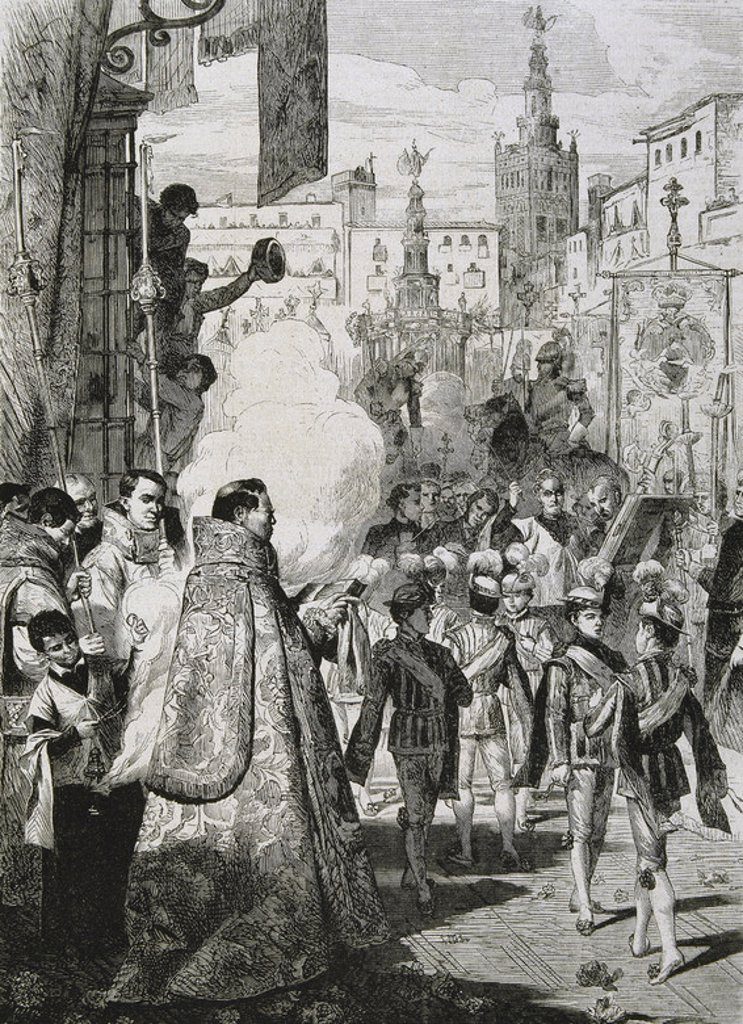 Stock Photo: 4409-42187 The Feast of Corpus Christi. Engraving. 19th century. Sevilla. Andalusia. Spain.