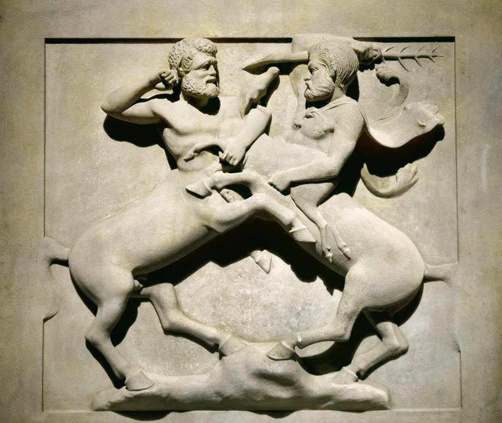 Phoenician. Lycian Sarcophagus. 5th BC. Made out of Paros marble. Detail. Batlle of centaurs. Royal Necropolis of Sidon. Lebanon. Istanbul Archaeological Museum. Turkey. : Stock Photo