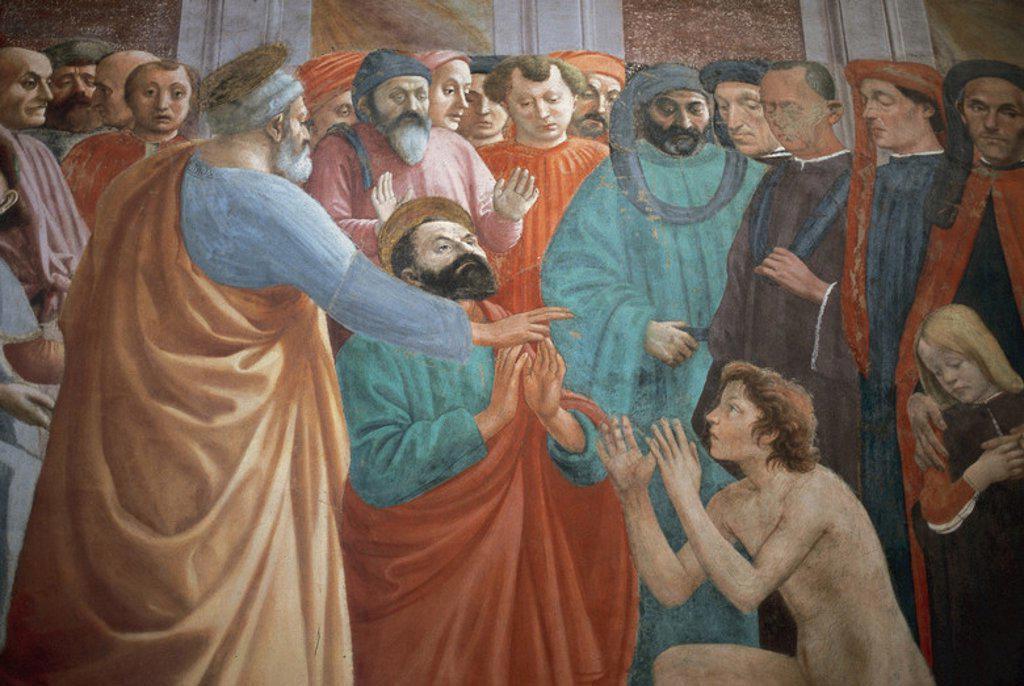 "Stock Photo: 4409-42291 ARTE RENACIMIENTO. QUATTROCENTO. ITALIA. MASACCIO, Tommaso di Giovanni di Mone Cassai, llamado (1401-h.1428). Pintor toscano. ""LA RESURRECCION DEL HIJO DE TEOFILO"" (1425). Forma parte de una serie de frescos sobre la vida de SAN PEDRO. CAPILLA BRANCACCI. Claustro de la IGLESIA DEL CARMINE. FLORENCIA. Italia."