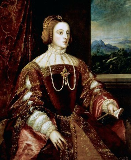 Stock Photo: 4409-42309 Isabella of Portugal (1503-1539). Queen of Spain and Empress of Germany (1526-1539). Wife of Charles I. Portrait, 1548 by Titian (h.1485-1576). Oil on canvas. Italian school. Museo del Prado. Madrid. Spain.