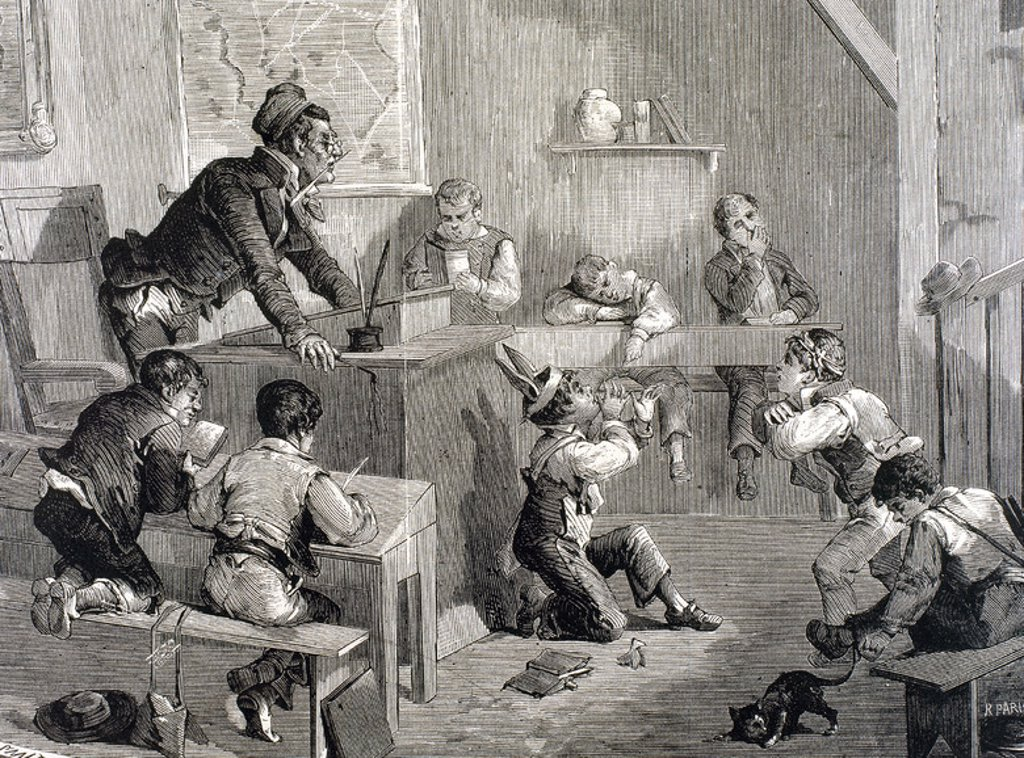 Stock Photo: 4409-42365 DISORDER IN SCHOOL. Engraving  by Paris in 1878.