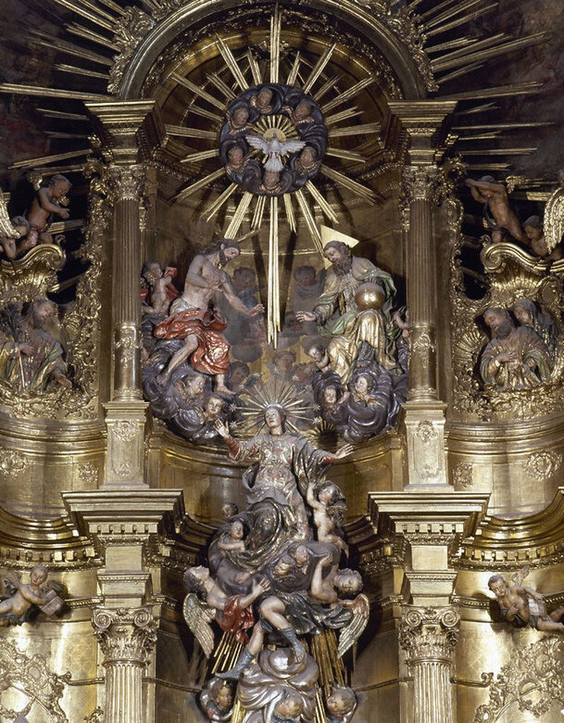 Spain. Galica. Mondonedo Cathedral. Altarpiece. Made in 1769 by Francisco Teran. Virgin accompanied by angels that lead to the Trinity. : Stock Photo