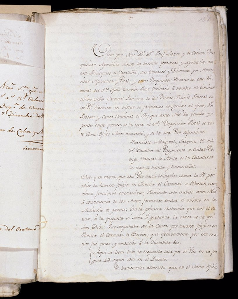 Inquisition. Trial to the Sergeant Francisco Mayoral for impersonating Luis Maria de Borbon, Infante of Spain. Barcelona, __1818. : Stock Photo