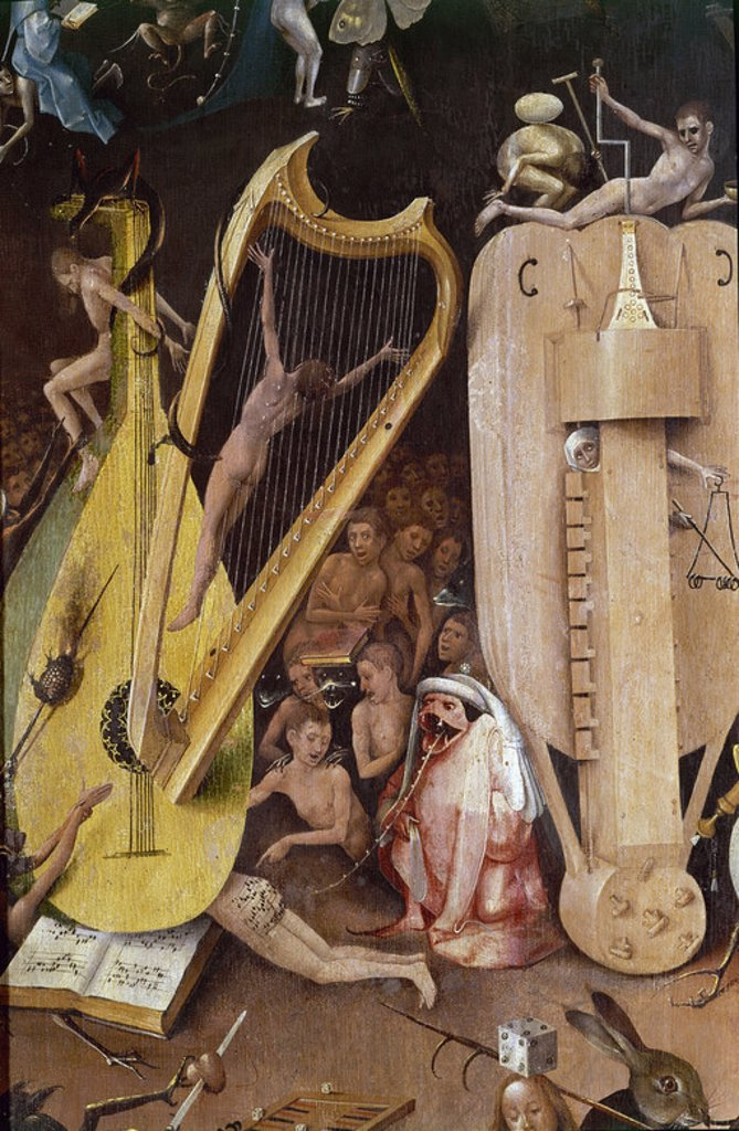 Stock Photo: 4409-4251 Dutch school. Detail of the Garden of Earthly Delights (right panel): Hell. 1504. Oil on canvas (220 x 195 cm). Madrid, Prado museum. Author: BOSCH, HIERONYMUS. Location: MUSEO DEL PRADO-PINTURA, MADRID, SPAIN.