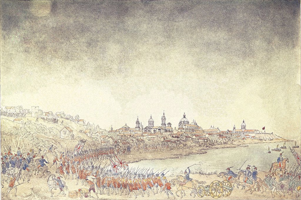 Stock Photo: 4409-4258 The army of British invadors being driven back by the Spanish while attacking Buenos Aires (Liniers). 1807. Engraving. Madrid, Naval Museum. Author: CARDANO JOSE. Location: MUSEO NAVAL / MINISTERIO DE MARINA, MADRID, SPAIN.