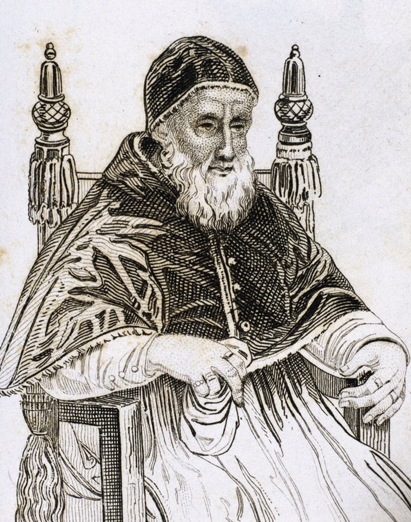 "Stock Photo: 4409-42599 Julius II (1443–1513), nicknamed ""The Fearsome Pope"" and ""The Warrior Pope"", born Giuliano della Rovere. Pope from 1503 to 1513. Engraving."