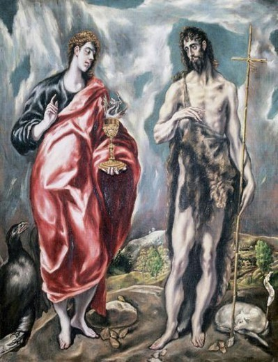Stock Photo: 4409-42600 Renaissance Art. Spain. El Greco, (Domenikos Theotokopulos), (1541-1614). Cretan painter, representative of the last phase of Mannerism. Saint John the Evangelist and Saint John the Baptist (1605-1610). Santa Cross Museum. Toledo.