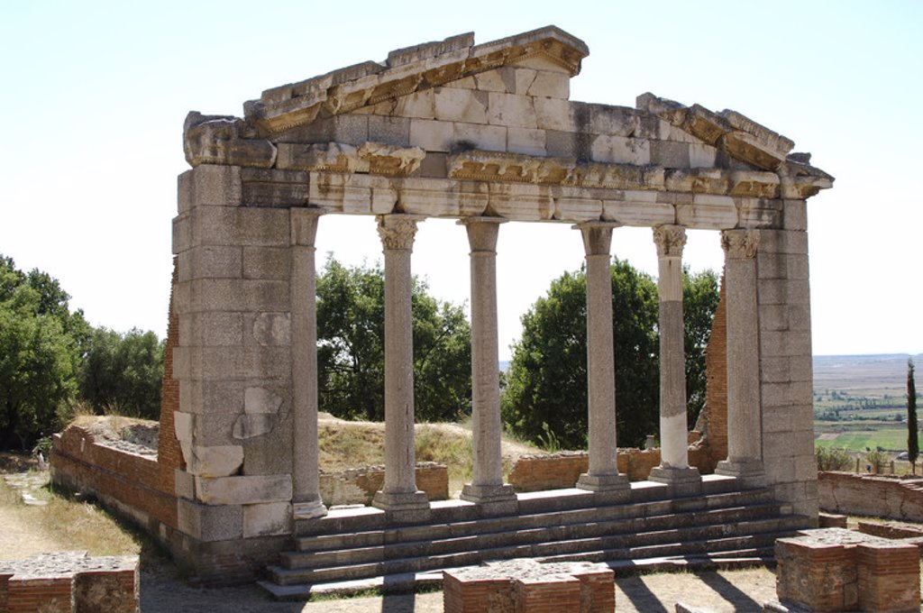 Stock Photo: 4409-42637 Greek ART. Hellenistic period. Republic of Albania. Bouleterion, building dated in the II century AD. Ruins of Apollonia. Fier.