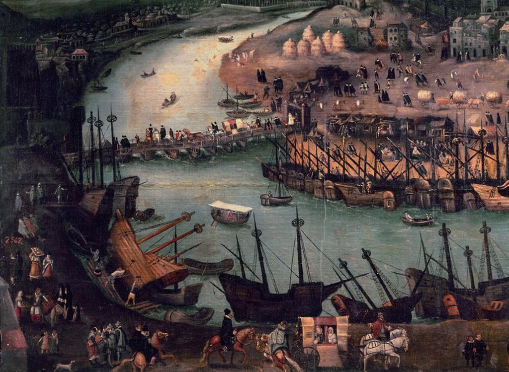 Stock Photo: 4409-4266 View of the city of Seville. Detail. Madrid, Museum of America. Author: ATTRIBUTED TO SANCHEZ COELLO. Location: MUSEO DE AMERICA-COLECCION, MADRID, SPAIN.