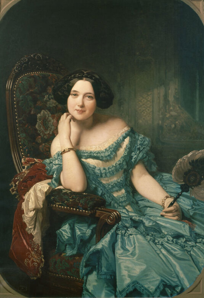 Stock Photo: 4409-4273 Spanish school. The Countess of Vilches. La condesa de Vilches. 1853. Oil on canvas (126 x 89 cm). Madrid, El Prado. Author: MADRAZO Y KUNZ FEDERICO. Location: MUSEO DEL PRADO-PINTURA, MADRID, SPAIN.