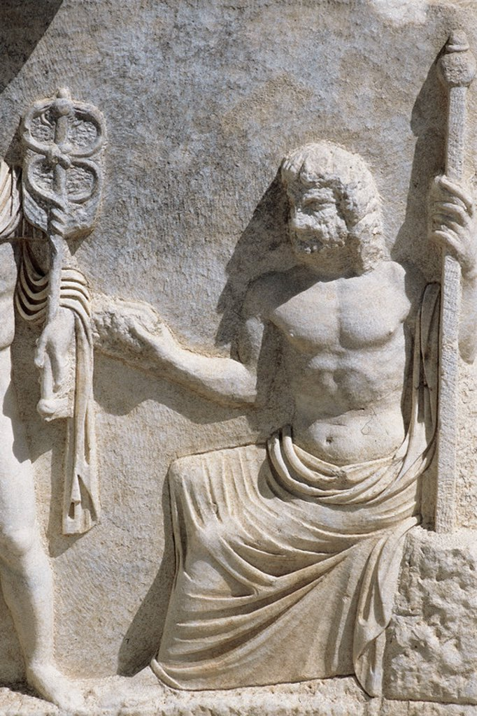 Greek art. Turkey. Relief depicting Zeus. Sarcophagus from the Necropolis of Aphrodisias. 2nd century BC. : Stock Photo