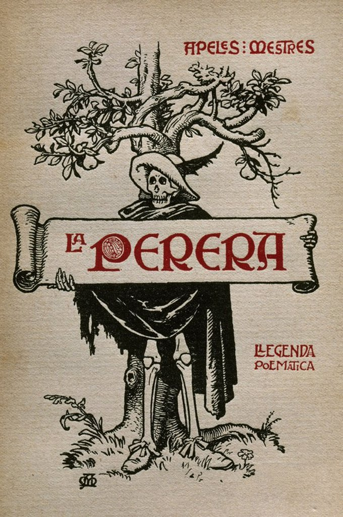Apeles Mestres (1854-1936). Writer, cartoonist, illustrator and musician Spanish. La Perera (The Pear). Cover. 1908. Illustrated by the author. : Stock Photo