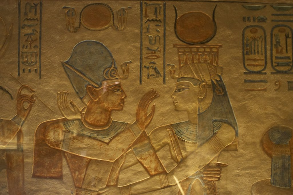 Stock Photo: 4409-42881 Tomb of Amen Khopshef, son of Ramses III. Polychrome reliefs decorating the walls of the burial chamber. Goddess Hathor with the prince. Twentieth dynasty. New Kingdom. Valley of the Queens. Egypt.